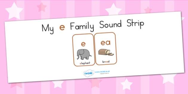 My E Family Sound Strip - sound family, visual aid, literacy