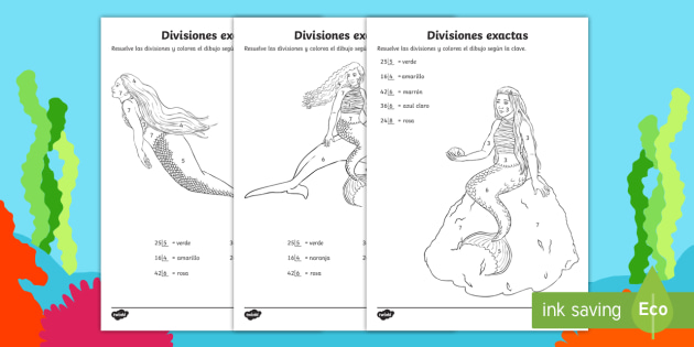 Hojas de colorear por divisiones exactas con una cifra - sirenas