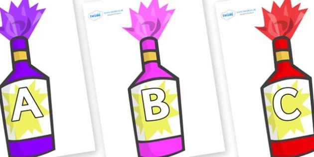 A-Z Alphabet on Party Poppers - A-Z, A4, display, Alphabet frieze, Display letters, Letter posters, A-Z letters, Alphabet flashcards