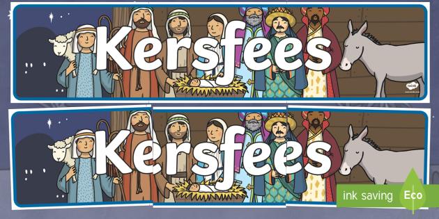 Kersfees Banner - Kersfees vertooning baniere - kersfees, vakansie, baniere, geboorte