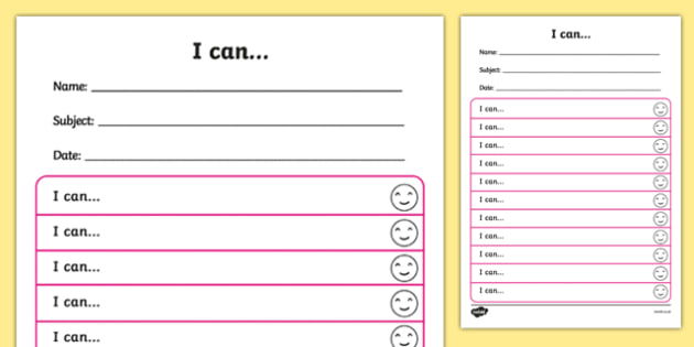 Themed Target and Achievement Sheets Food Themed I Can - Target and Achievement Sheet, I Can Sheet, Target Sheet, Food Themed