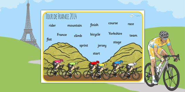 Tour de France 2014 Word Mat - le tour, cycle, sport, visual aid