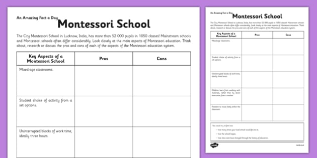 The Pros and Cons of a Montessori School Activity Sheet - montessori, india, worksheet