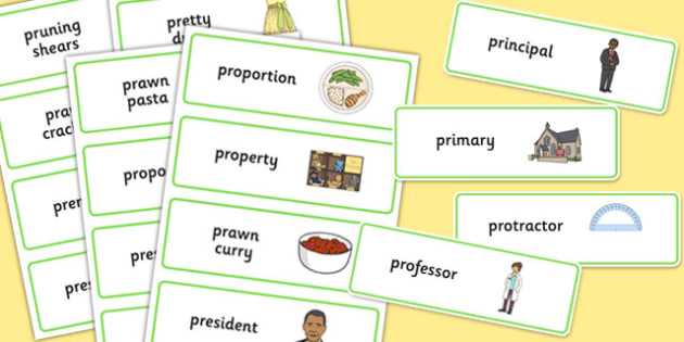 Three Syllable PR Word Cards - speech sounds, phonology, articulation, speech therapy, cluster reduction, clusters, blends