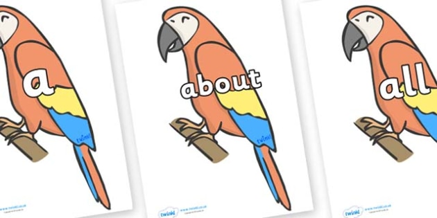 100 High Frequency Words on Parrots - High frequency words, hfw, DfES Letters and Sounds, Letters and Sounds, display words