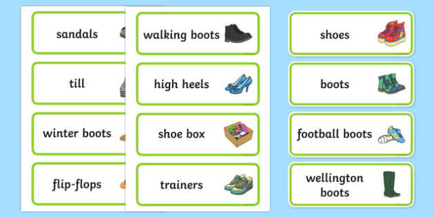 Shoe Shop Role Play Word Cards - Shoe shop, shoes, role play, shop, trainers, display, poster, shoe box, labels, measuring chart, word cards