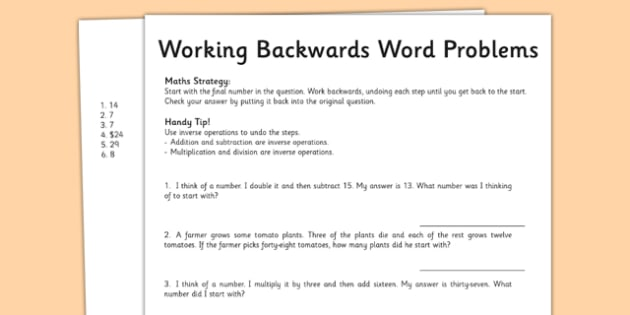 Year 3 Working Backwards Maths Word Problems   australia  worksheet additionally Cirference And Area Of A Circle Worksheet Cirference Area Word further Year 5 Working Backwards Maths Word Problems   australia  worksheet together with  further  further Practice Problem Solving Strategies   1st Grade Math   Problem further Work Backwards Problem Solving PowerPoint  Task Cards and Worksheet moreover Problem Solving  Working Backwards   Math besides Runde's Room  5 Activities for Teaching Problem Solving moreover Grade 5 Working Backwards Maths Word Problems Worksheet Test Grade furthermore Other Word For Work Math Math Word Problems Made Easy Grade 2 Math likewise  also Problem Solving Math Problems Solving Maths Problems Strategy Cards additionally How To Solve For Work Math Find Key Phrases In Word Problems Solve further Work Problem Math Working Backwards Group Work Maths Problem Solving additionally Thanks Math Word Problems Grade  mon Core The Medium Size Of. on working backwards word problems worksheet