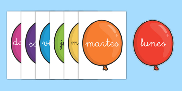 Calendario Din A4.Globos De Los Dias De La Semana En Din A4 Calendario