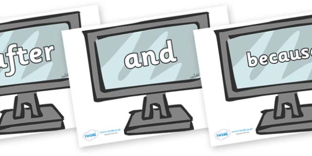 Connectives on Monitors - Connectives, VCOP, connective resources, connectives display words, connective displays