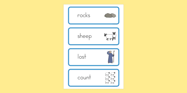 The Lost Sheep Word Cards - usa, america, the Lost Sheep, sheep, shepherd, lost sheep, cards, flashcards, word cards, 100, 99, search, searching, looking for, safe, carried home, bible story, bible, party, happy