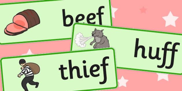 Final F Sound Word Cards - final f, sound, word cards, word, card