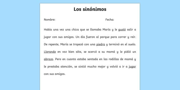 Ficha de actividad: Los sinónimos   - sinónimos, cambiar fuente, tamaño, color, texto,Spanish