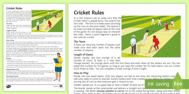 cricket rules worksheet worksheet worksheet batting fielding wicket. Black Bedroom Furniture Sets. Home Design Ideas