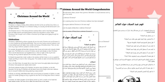 Christmas around the World Comprehension Sheet Arabic Translation - reading, festive, questions, topic, ks1, ks2,