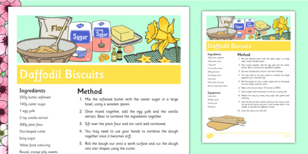 Daffodil Biscuits Recipe - daffodils, cooking, baking, biscuits, recipe