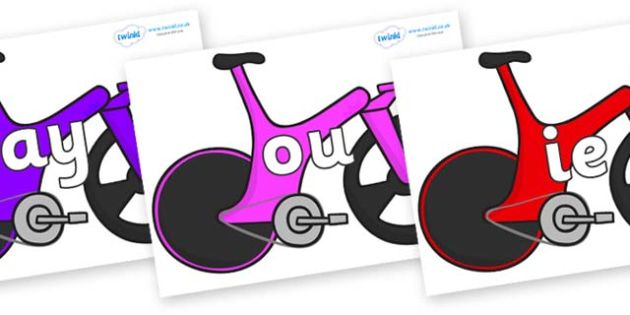 Phase 5 Phonemes on Bikes - Phonemes, phoneme, Phase 5, Phase five, Foundation, Literacy, Letters and Sounds, DfES, display