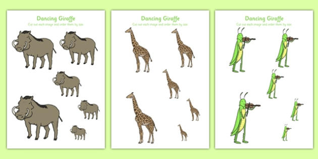 Dancing Giraffe Themed Size Ordering - Giraffes, Dance, animals, Africa, safari, measuring, measure, orderm sequence, size, compare, height, big, small, ssm, maths,early years, animals, zoo, Giraffes Can