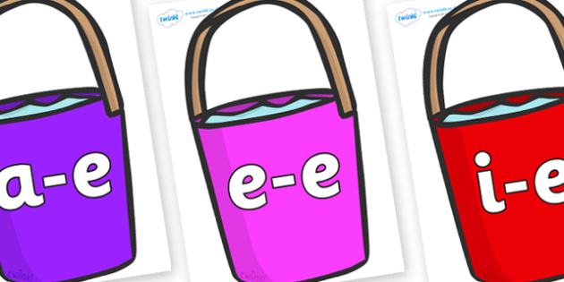 Modifying E Letters on Bucket - Modifying E, letters, modify, Phase 5, Phase five, alternative spellings for phonemes, DfES letters and Sounds