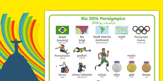 Rio Paralympics 2016 SEN Word Mat Arabic Translation - arabic, Paralympics, Rio 2016, Brazil, Word Mat, Key words, Key vocabulary, Literacy, English, Special Educational Needs, Language development, Disability Awareness