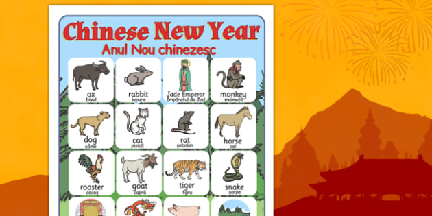 Chinese New Year Story Vocabulary Poster Romanian Translation - romanian, chinese new year, story, vocabulary, poster, display