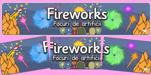 Bonfire Night Banners Fireworks Romanian Translation - romanian