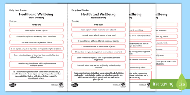 CfE Health and Wellbeing (Social Wellbeing) Early Level Child-Friendly Tracking