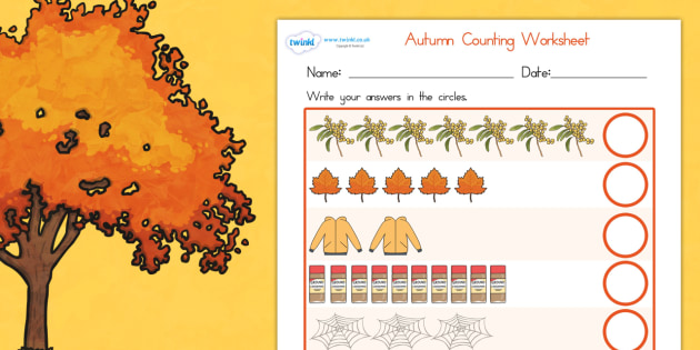 Autumn Counting Worksheet - count, numeracy, maths, seasons