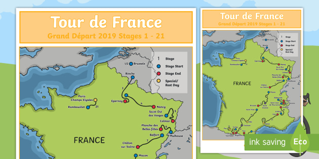 Map Of France For Children.Tour De France 2019 Large Route Maps Stage 1 And 2 Display Poster
