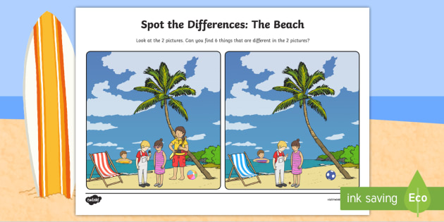 The Beach Spot the Differences Worksheet / Activity Sheet - ROI