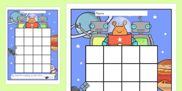 Space Sticker Stamp Reward Chart - australia, reward, chart