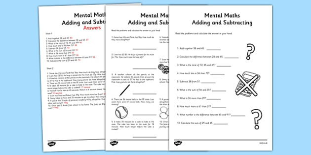 Mental Maths Addition And Subtraction Worksheet Activity Sheet