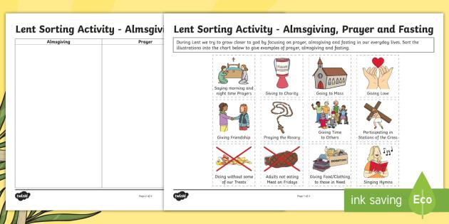 Lent Sorting Worksheet Activity Sheet Lent Alms Giving
