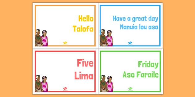 Samoan Language Posters - pacific islands, samoa, languages, samoa, dispaly, classroom, signs, labels, nz, new zealand