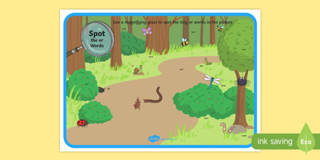 Phase 3 or Words Minibeasts Scene Magnifying Glass Activity Sheet, worksheet
