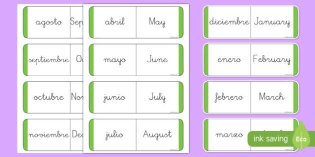 A1 Tarjetas Bilingues De Buscar Y Emparejar Los Meses Del Ano En Ingles