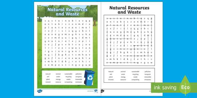 Natural Resources and Waste Word Search - geography, PSCHE