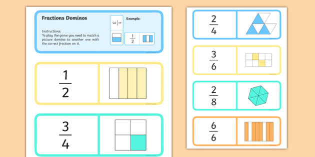 Fraction Dominoes - Halves and Quarters - maths, numeracy, halves, half, quarter, three quarters,