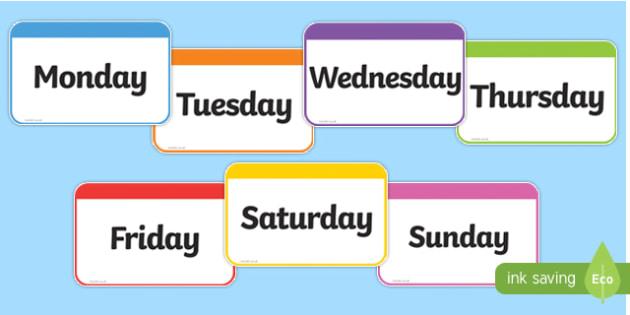 Days of the Week Flashcards - days, week, flashcards, cards
