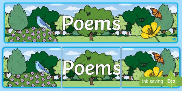 Poems Display Banner - Display banner, poetry, poem, literacy, writing, independent writing, display, banner, poetry display, poem display