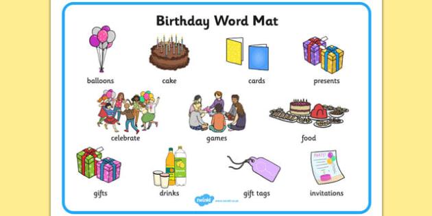 Birthday Word Mat Esl Birthday Vocabulary