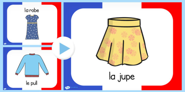 French Clothes Vocabulary PowerPoint - French, Clothes, France