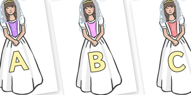 A-Z Alphabet on Princesses - A-Z, A4, display, Alphabet frieze, Display letters, Letter posters, A-Z letters, Alphabet flashcards