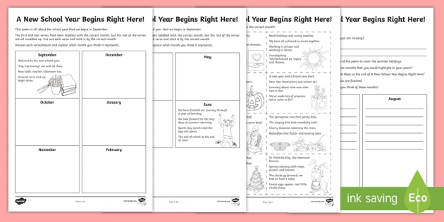 A New School Year Begins Poetry Worksheet / Worksheet - new ...