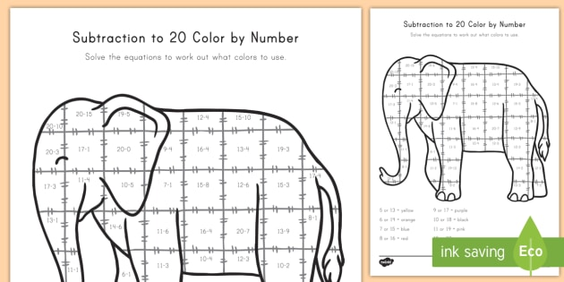 Subtraction From 20 Color By Numbers Worksheet / Worksheet