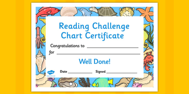 Reading Challenge Chart Certificates Great Barrier Reef Themed - awards, record, celebrate, celebration, early years, ks1, ks2, target, australia, sea, water, fish, coral