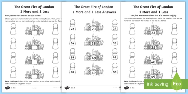 KS1 The Great Fire of London 1 More and 1 Less Differentiated ...