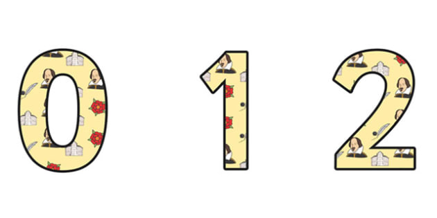 William Shakespeare Themed A4 Display Numbers - william shakespear, display numbers, themed number, classroom number, numbers for display, a4 numbers