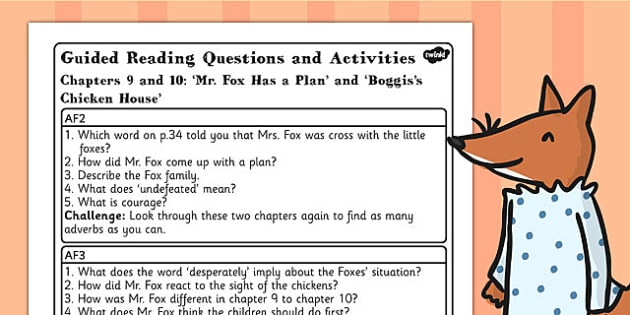 Guided Reading Questions Chapters 9 and 10 to Support Teaching on Fantastic Mr Fox