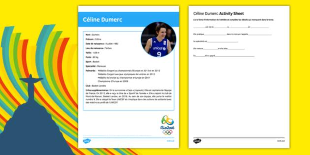 French Olympic Athletes Céline Dumerc Gap Fill Activity Sheet, worksheet