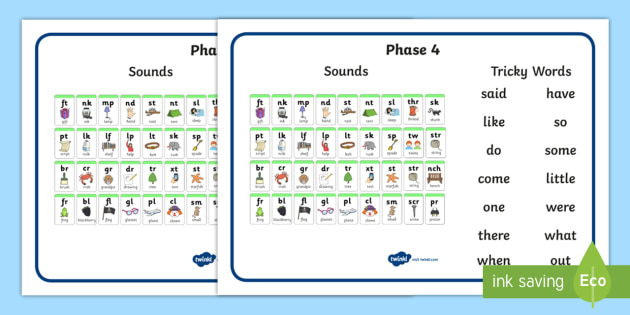Phase 4 Blends And Clusters And Tricky Words Desk Mat